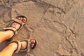 Man feet on beach sand — Stock Photo