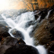 Waterfall on mountain river with colorful forest in background in autumn — Stock Photo #43200789