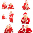 Stock Photo: Two fanny kids in santclauss costumes isolated on white