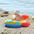 Cute boy rowing a boat on a beach — Stok fotoğraf