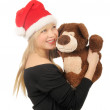 Santa woman with bear isolated on white — Stock Photo