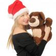 Noel Baba ayı beyaz izole kadınla — Stok fotoğraf