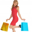 Young woman in a red dress with shopping bags. isolated on white — Stock Photo #16918991