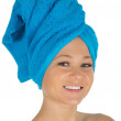 Spa Girl. Beautiful Young Woman After Bath with blue towel. isolated on white — Stock Photo #17456911