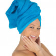 Spa Girl. Beautiful Young Woman After Bath with blue towel. isolated on white — Stock Photo #17456919