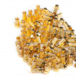 Stock Photo: Golden F connectors isolated on white background.
