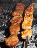 Tasty grill kebab saslyk on a charcoal — Stock Photo