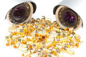 Day & Night Color surveillance video camera and golden f connectors isolated on white background — Stockfoto