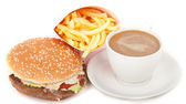 Breakfast set: coffee, hamburger and french fries isolated on white background — Stock Photo
