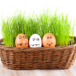 Royalty-Free Stock Photo: Three Funny crazy smiling  eggs in  basket with grass. sun bath.