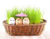 Three Funny smiling eggs under umbrella in basket with grass. sun bath. — Stock Photo
