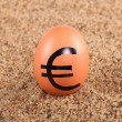 Image of big white egg with euro sign on a sand — Stock Photo