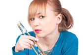 Beautiful woman waiting a sushi with chopsticks — Stock Photo