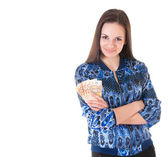 Business woman with money — Stock Photo