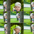 Little boy emotional faces, expressions set outdoor — Stock Photo
