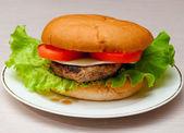 Savoureux burger fait maison sur une plaque. — Photo