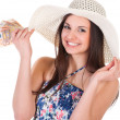 Beautiful woman in summer dress with hat and money — Stock Photo