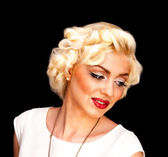 Pretty blond girl model like Marilyn Monroe in white dress with red lips — Stock Photo