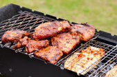 BBQ Ribs and fish on grill with charcoal — Stock Photo