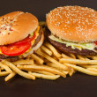 Stock Photo: Fast food set big hamburger and french fries