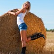 Sexy woman in a jeans shorts on field — Stock Photo