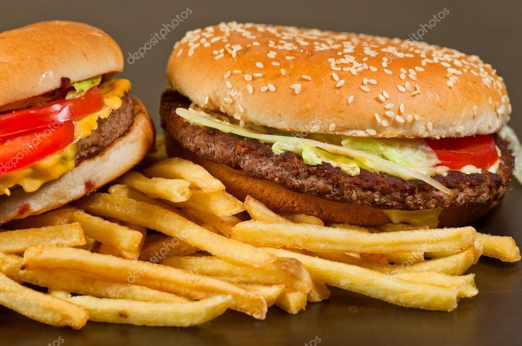 Comida r pida establecer grandes hamburguesas y papas for Comida rapida y calentita