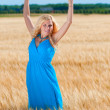 Happy womanin blue dress  in golden wheat — Stock Photo