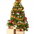 Christmas Tree and Gifts. Over white background — Stock Photo #34836333