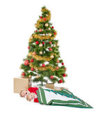 Two little children sleeping and waiting Santa — Foto Stock