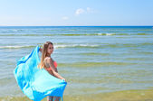 Beautiful Girl With blue Scarf on The Beach. — Stock Photo