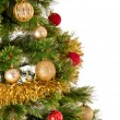 Decorated Christmas tree on white background — Стоковая фотография