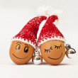 Stock Photo: Funny lovely eggs in winter santhats