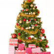 Stock Photo: Christmas Tree and Gifts. Over white background