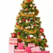 Christmas Tree and Gifts. Over white background — Stock Photo #35011249