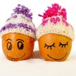 Funny lovely eggs in winter hats and sugar like a snow — Stock Photo