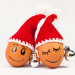 Stock Photo: Funny lovely eggs in winter santhat
