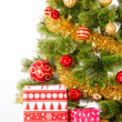 Christmas Tree and Gifts. Over white background — Stock Photo