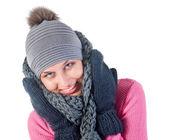 Schöne frau in warme kleidung closeup portrait — Stockfoto