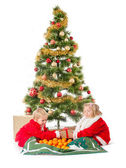 Two little children playing under christmas tree — Foto Stock