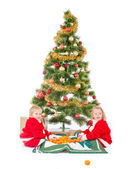 Two little children playing under christmas tree — Foto de Stock