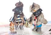 Ručně vyráběné staré černé medvídky — Stock fotografie
