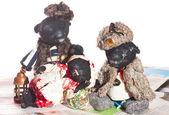 Handmade old black Teddy bears — Stock Photo