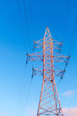 High-voltage tower sky background. — Stock Photo