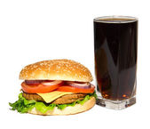 Cheeseburger and cola — Stock Photo