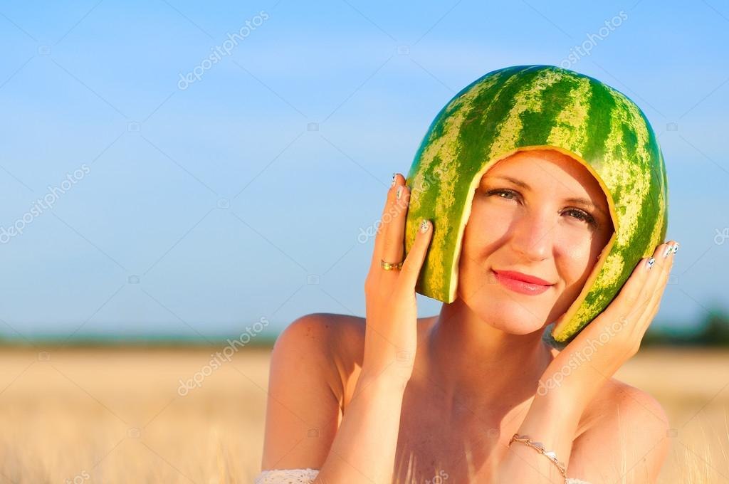 Woman Eating Water-melon. Stock Photo, Picture And Royalty Free ...
