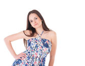 Mujer atractiva en vestido de verano — Foto de Stock