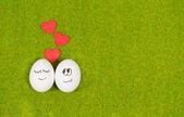Funny eggs in love on a green grass. — Foto Stock