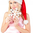 Portrait of woman in Santas hat, isolated — Stock Photo