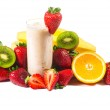 Healthy strawberry smoothie with fruits  isolated — Stock Photo #48277225
