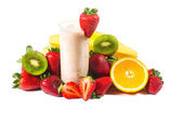 Healthy strawberry smoothie with fruits  isolated — Stock Photo